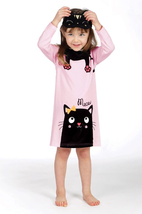 Lina Pink Dívčí pyžamo Lina Pink  Kitty růžovočerná 6