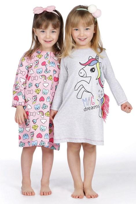 CTM Style Dívčí noční košilka CTM Pony šedá 6