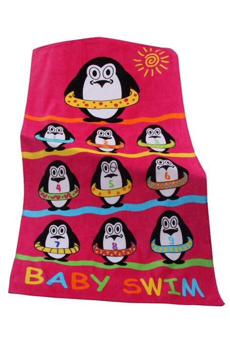 Le Comptoir De La Plage Dětská plážová osuška Baby swim růžová 70x140