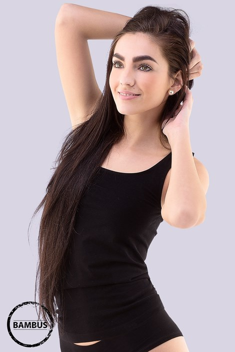 Gina Spodní košilka Tina Bamboo prodloužená černá S/M