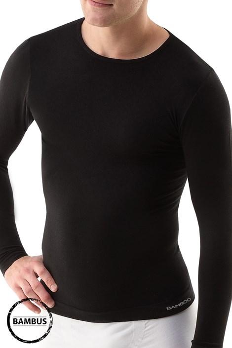 GINO Pánské tričko GINO ECO Bamboo Long bezešvé černá S/M