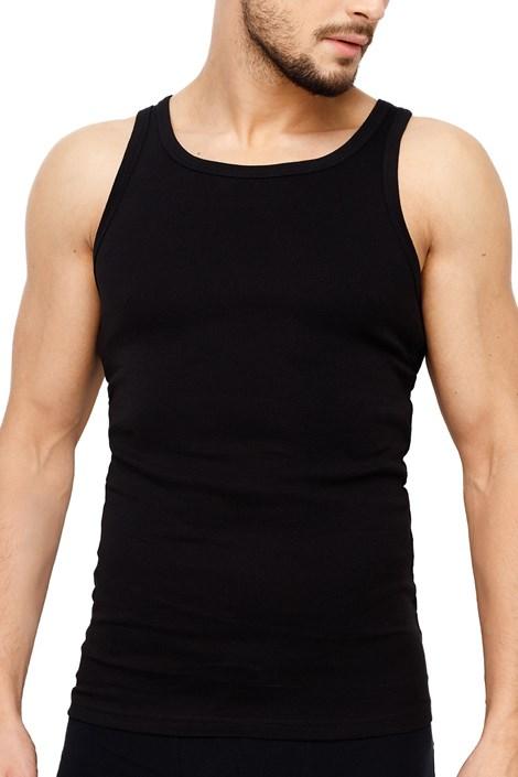 Rössli Pánské tílko ROSSLI Premium Cotton černá XL