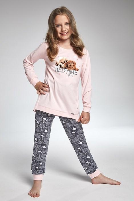 Cornette Dívčí pyžamo Cornette Bedtime Story šedorůžová 98/104