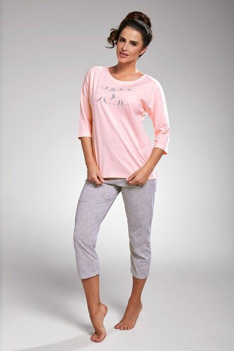 Cornette Dámské pyžamo Birds růžové šedorůžová XXL