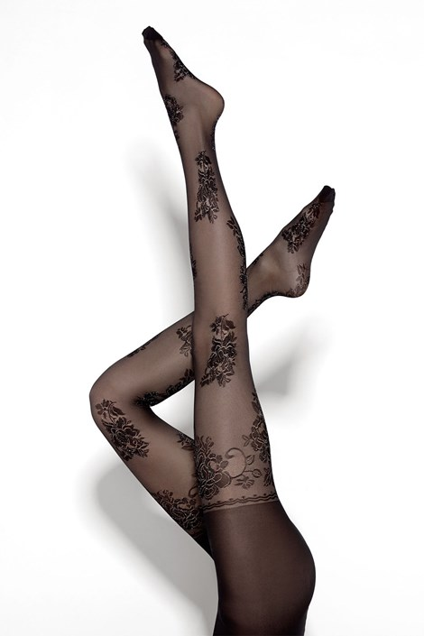 MONA Dámské punčochové kalhoty Bling Rose 20 DEN černá S
