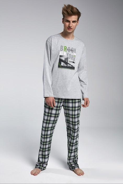 Cornette Chlapecké pyžamo Cornette Brooklyn šedozelená XS