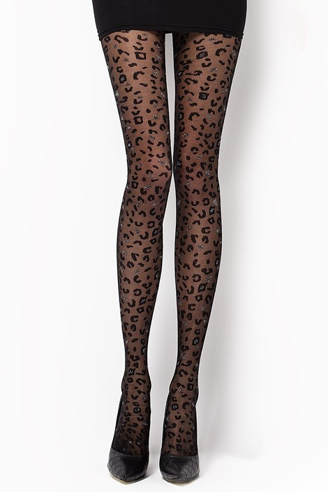 MONA Vzorované punčochové kalhoty Camilla 30 DEN černá S