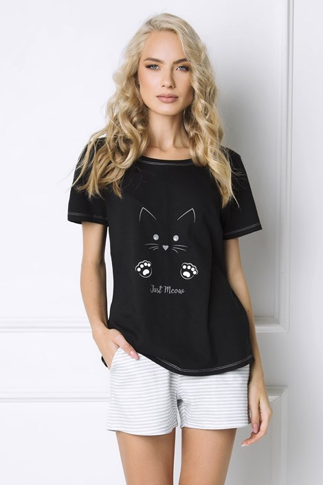 Aruelle Dámské pyžamo Cat Woman krátké černá/šedá S