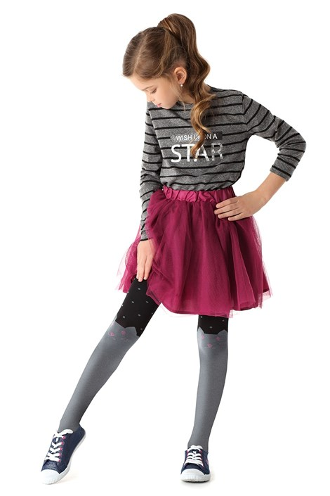 MONA Dívčí punčochové kalhoty Cats šedočerná 152/158