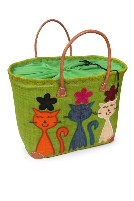 Le Comptoir De La Plage Velká plážová taška Chat zelená uni