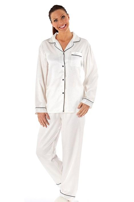 Selena Secrets Dámské saténové pyžamo Coco bílá S/M