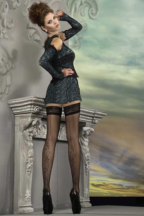 Ballerina Luxusní samodržící punčochy J.Collection 215 černá S/M
