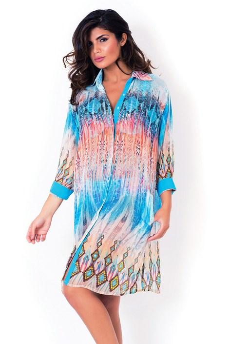 David Mare Dámské italské plážové košilové šaty David Mare, Python barevná XL