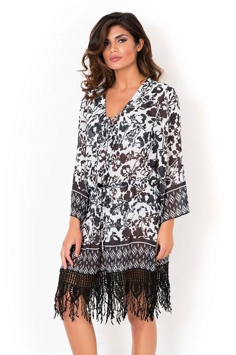 88b26418f David Mare Dámské italské plážové šaty David Mare kolekce Peyote černobílá S