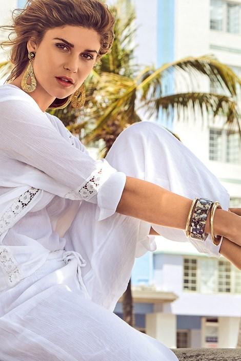 David Beachwear Dámské italské letní kalhoty David Beachwear Delhi bílá M