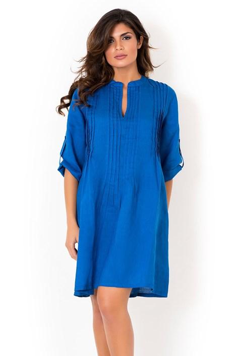 David Beachwear Dámské lněné letní šaty David Beachwear Blue 05 lněné modrá XL