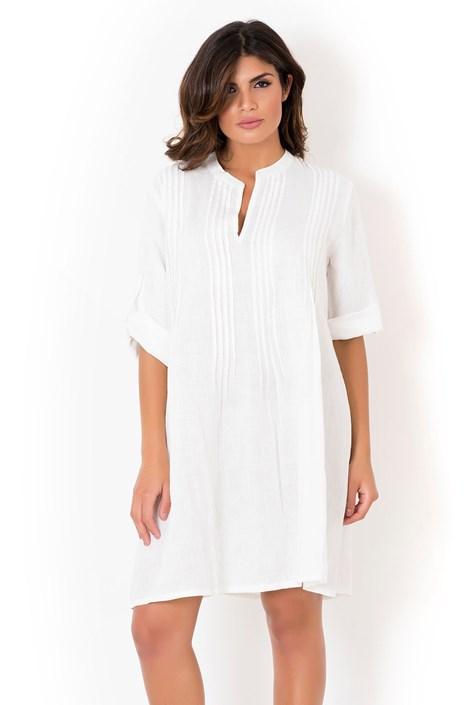 David Beachwear Dámské italské letní šaty David Beachwear White 05 lněné bílá XL