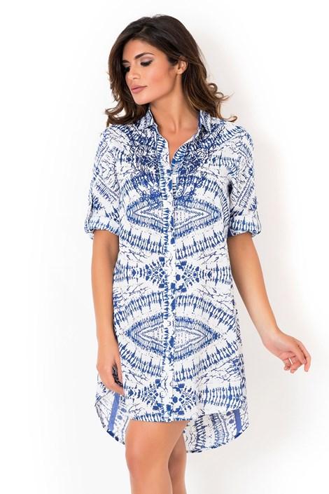 David Beachwear Dámské italské košilové šaty David Beachwear Graphic II. modrobílá XL