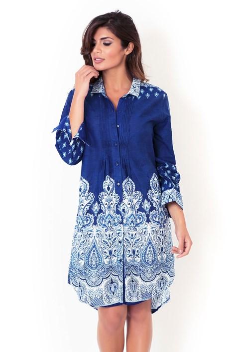 David Beachwear Dámské italské košilové šaty David Beachwear kolekce Kerala modrobílá XL