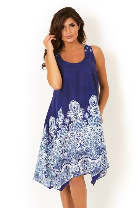 David Beachwear Dámské italské letní šaty David Beachwear Kerala modrobílá M
