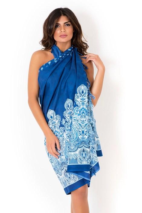 David Beachwear Plážový šátek,pareo značky David Beachwear kolekce Kerala 180x110cm modrobílá uni