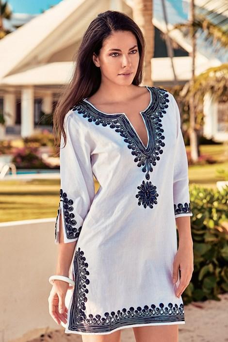 David Beachwear Dámské plážové šaty Sara I bílomodrá L