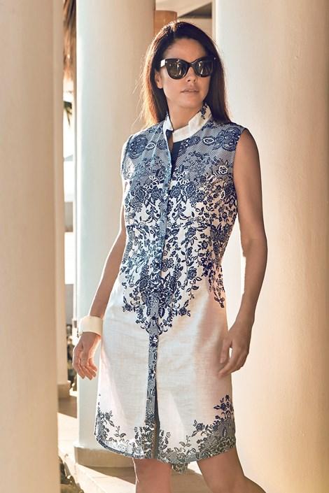 David Beachwear Dámské plážové šaty Erika bílomodrá M