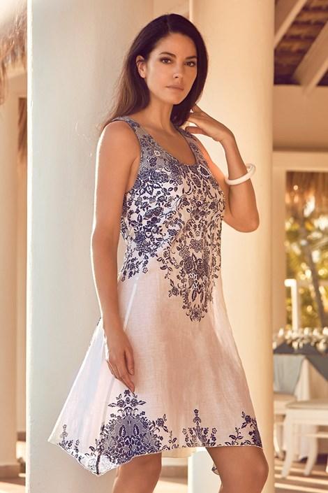 David Beachwear Plážové šaty Sofia bílomodrá XL