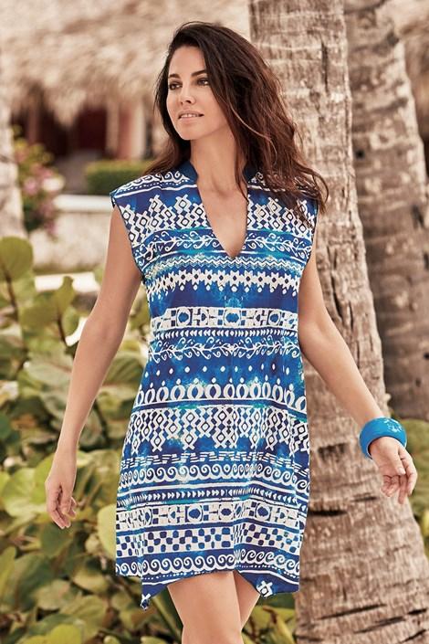 David Beachwear Plážové šaty Cristina modrobílá XXL