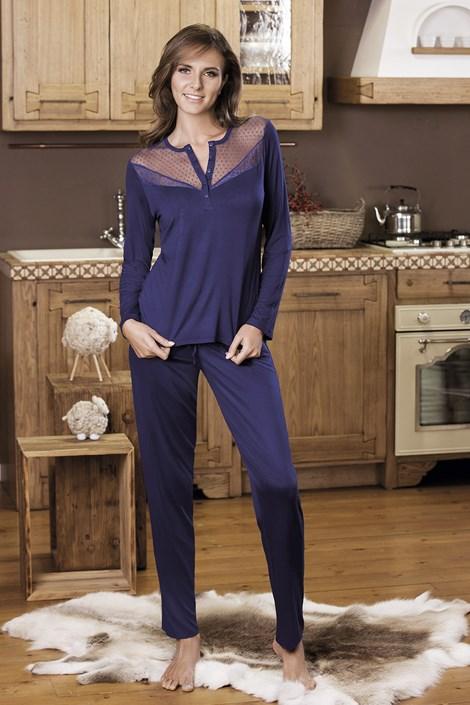 COTONELLA Dámské pyžamo Serafino modrá M