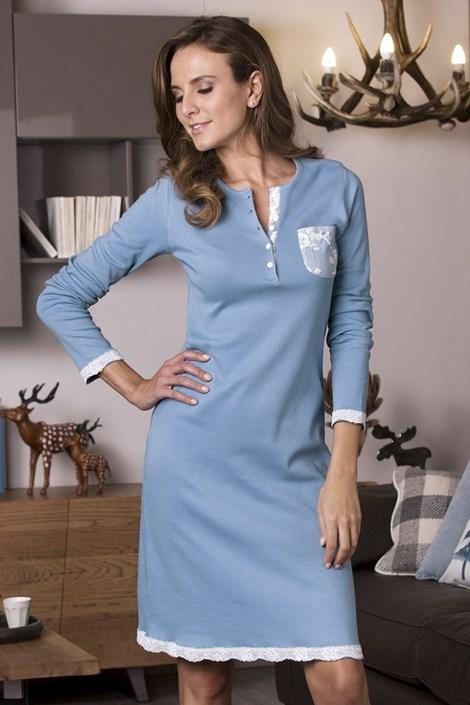 COTONELLA Dámská noční košile Danielle azurová XL
