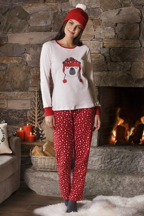 COTONELLA Dámské pyžamo Cynthia červenobílá M