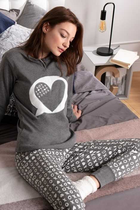 COTONELLA Dámské pyžamo TickTack Toe šedobílá XL