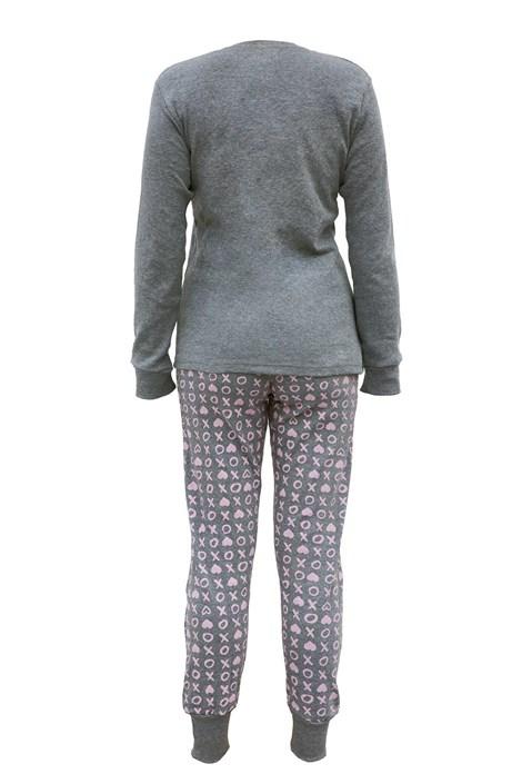 COTONELLA Dámské pyžamo TickTack Toe šedorůžová S