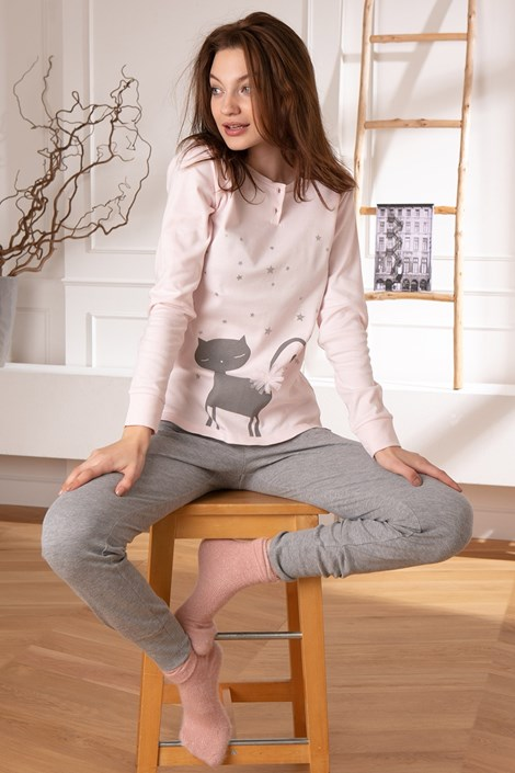 COTONELLA Dámské pyžamo Kitty růžová XL