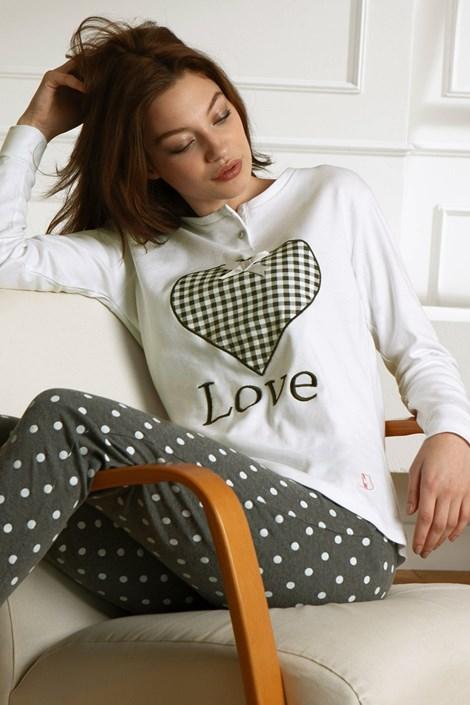 COTONELLA Dámské pyžamo Winter Love bílá XL