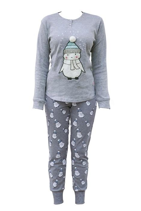 COTONELLA Dámské pyžamo Little Snowman šedá XL