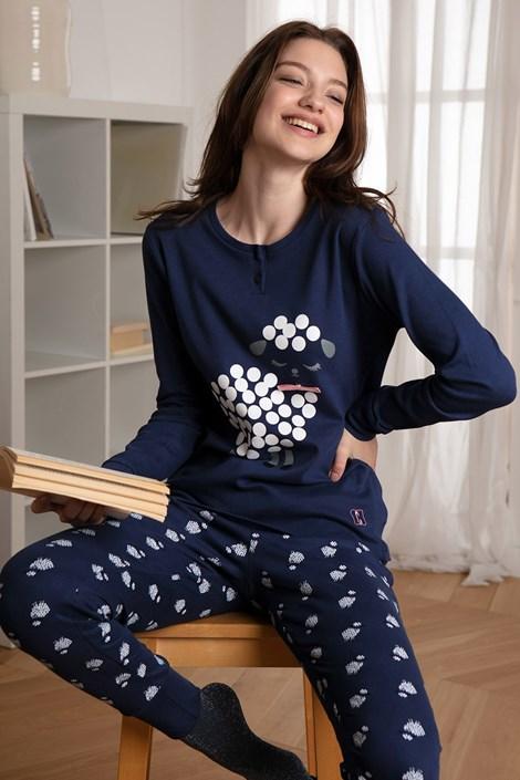 COTONELLA Dámské pyžamo Little Sheep modrá S