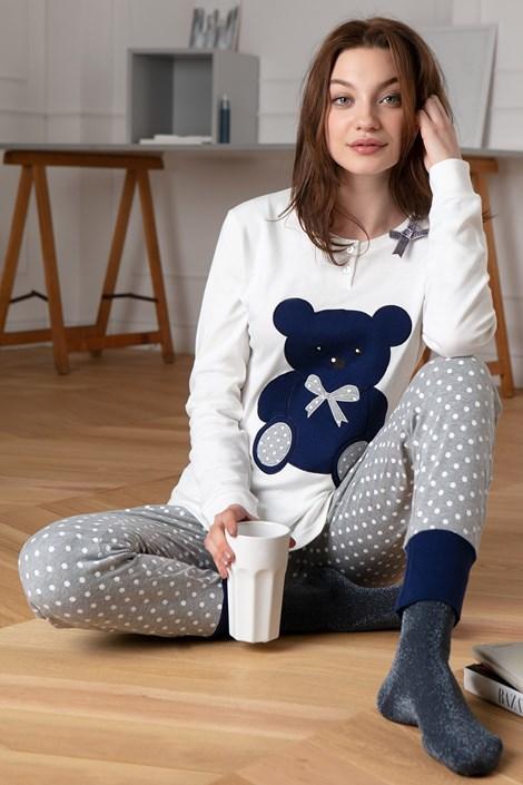 COTONELLA Dámské bavlněné pyžamo Bear bílá XL