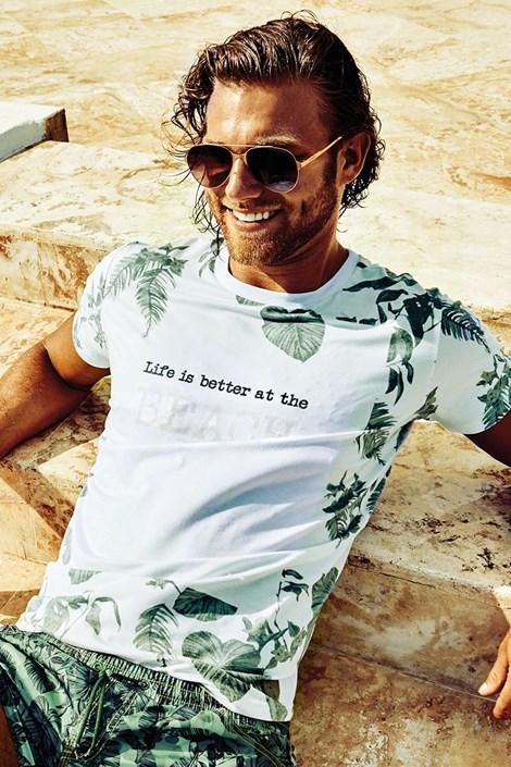 David 52 Pánské tričko DAVID 52 Tropical bílozelená XL
