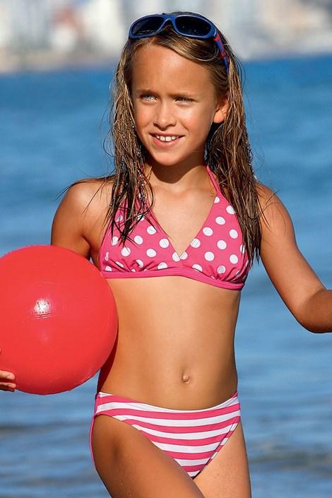 8eefb023249 LORIN Dívčí plavky Dot DP2 růžová 110