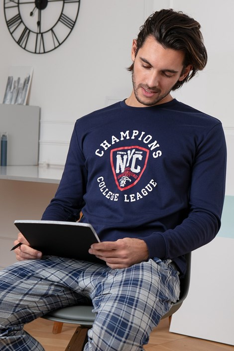 COTONELLA Pánské pyžamo NYC modrá XXL
