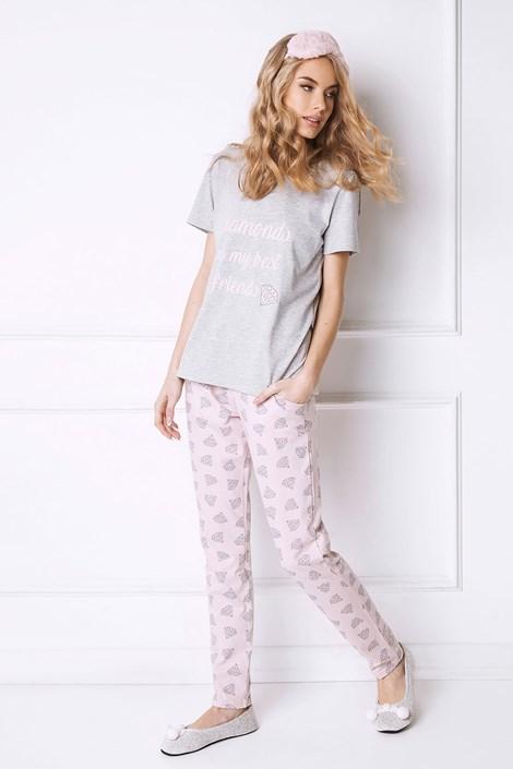 Aruelle Dámské pyžamo Diamonds dlouhé šedá S
