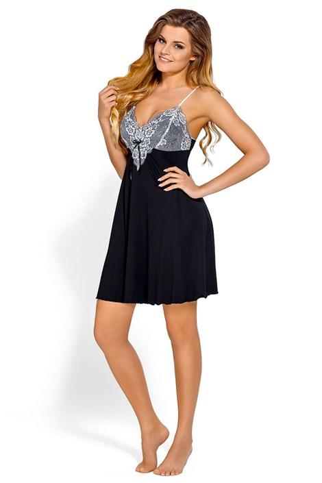 Babella Dámská elegantní košilka Donatella Black černobílá XL