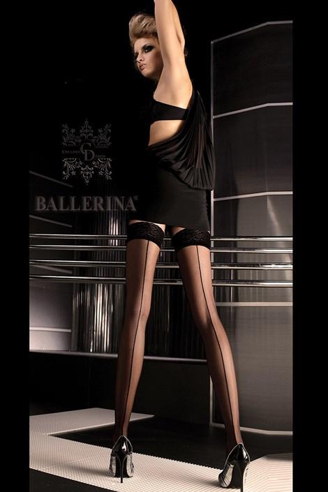 Ballerina Luxusní samodržící punčochy 049 černá S/M
