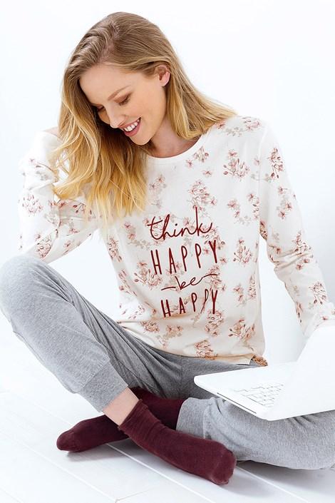 Coloriamoci Dámské pyžamo Be Happy melange šedá L