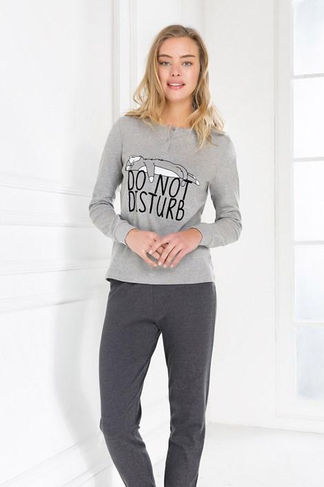 Coveri Dámské pyžamo Do not disturb šedá XL