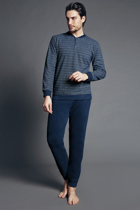 Enrico Coveri Pánské italské pyžamo Fabias Blue modrá S