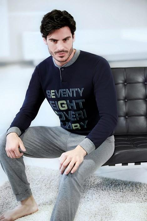 Enrico Coveri Pánské italské pyžamo Seventy Eight modrá L
