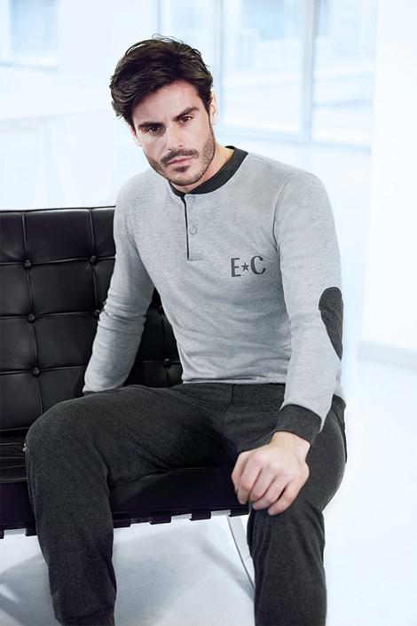 Enrico Coveri Pánský domácí komplet Adriano šedý šedá XL